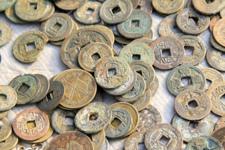confiscated: Chinese ancient copper coins Stock Photo