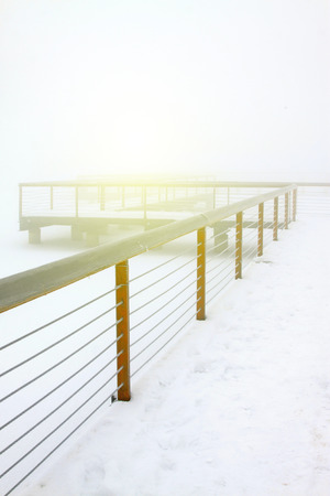 dazzle: Park pier in the frost and snow