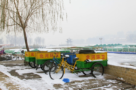 sanitation: sanitation vehicles in the park, closeup of photo