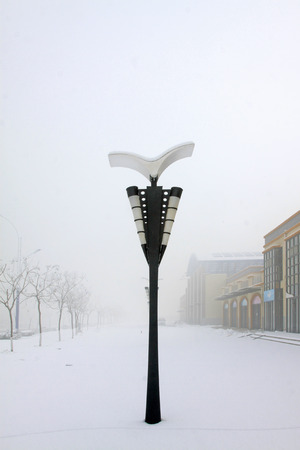 street lamps: Street lamps in the frost and snow, closeup of photo Stock Photo