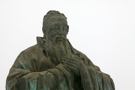 scholars: ancient China Confucian scholars sculpture, closeup of photo