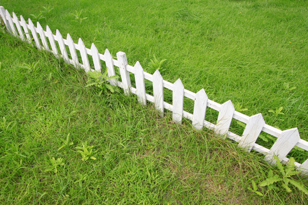 fence: White wooden fence in a park