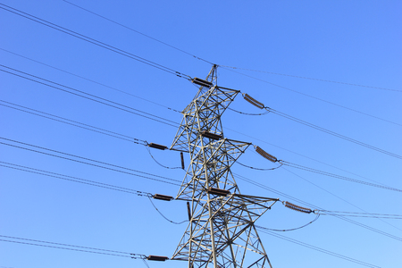 solid wire: Pylon in the blue sky background
