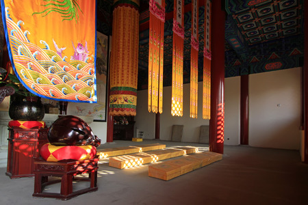 abode: interior view of a meditation abode Editorial