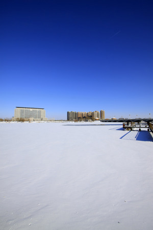 wider: Construction and pier in the snow, closeup of photo Stock Photo