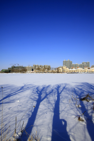 cheerless: Buildings in the snow, closeup of photo