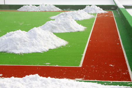 venues: plastic runway in a sports ground in a middle school