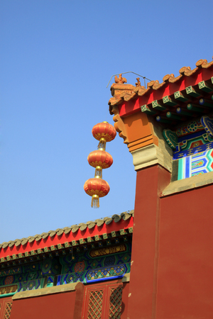 eaves: Lanterns and eaves in a temple, closeup of photo Stock Photo