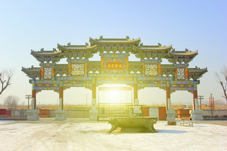 restore ancient ways: LUAN COUNTY - DECEMBER 14: ChengShiHongYin stone arch in a park, on december 14, 2014, Luan County, Hebei Province, China