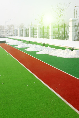 dazzle: plastic runway in a sports ground in a secondary school Editorial