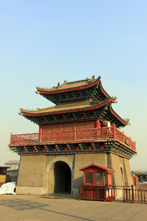 restore ancient ways: Drum tower in an ancient city, closeup of photo Editorial