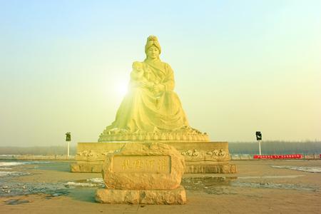 hebei: mother river levee sculpture, Hebei luanhe river, closeup of photo