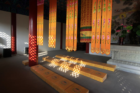abode: meditation abode internal decoration, closeup of photo, China