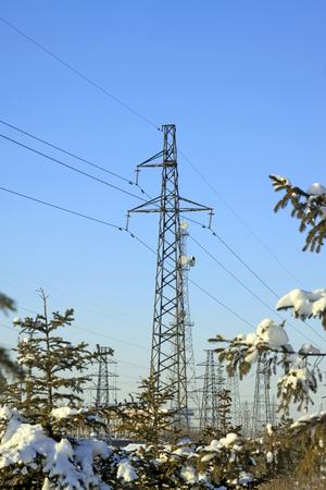energia electrica: Torre de energ�a el�ctrica y los �rboles en la nieve