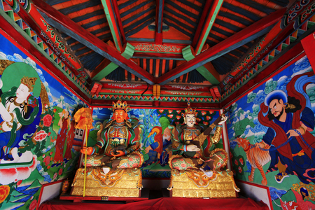 murals: Hohhot City - May 2: Heavenly Kings statues and murals in Five-Pagoda Temple, on May 2, 2015, Hohhot city, Inner Mongolia autonomous region, China Editorial