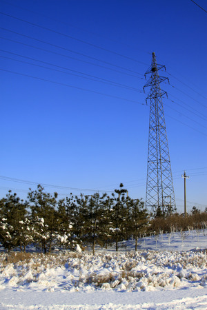 energia electrica: Electric power tower and trees in the snow, closeup of photo Foto de archivo