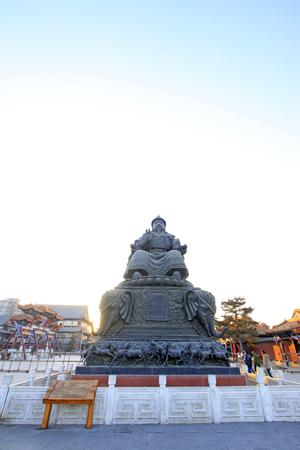 restore ancient ways: Hohhot City - May 2: Alatan Khan bronze statue in Hohhot DaZhao Temple, on May 2, 2015, Hohhot, Inner Mongolia autonomous region, China Editorial