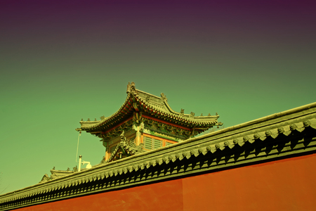 tantra: Gray roof and red walls of the Temple Stock Photo
