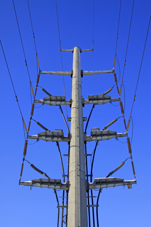 solid wire: Electric steel rod in the blue sky background, closeup of photo