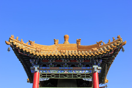 tantra: Pavilion building landscape in a temple, closeup of photo Stock Photo