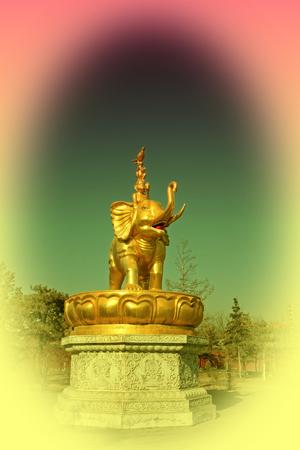 aureate: Hohhot City - February 5: Harmony four sculpture in the Xilituzhao Lamasery, on February 5, 2015, Hohhot city, Inner Mongolia autonomous region, China Stock Photo