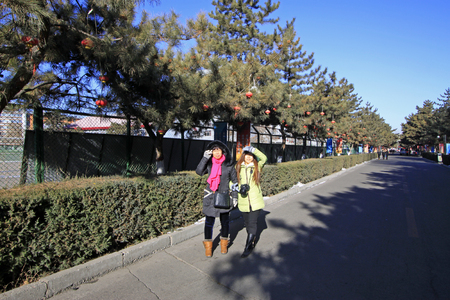 normal school: Hohhot City - February 5: Pedestrians in Inner Mongolia normal university campus, on February 5, 2015, Hohhot city, Inner Mongolia autonomous region, China Editorial