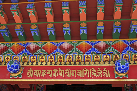 rafters: Painted wood in a temple, closeup of photo