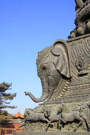 mongolia horse: Hohhot City - February 6: Bronze elephant sculptures in the Dazhao Lamasery, on February 6, 2015, Hohhot city, Inner Mongolia autonomous region, China