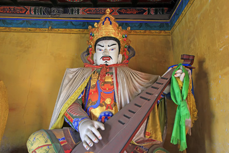pipa: Religious statues in the Dazhao Lamasery Stock Photo