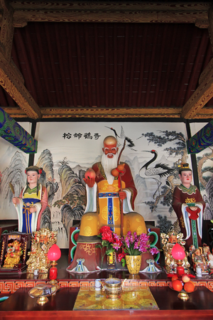 Hohhot City - February 6: Longevity gods sculpture in mammon temple, on February 6, 2015, Hohhot city, Inner Mongolia autonomous region, China Editorial