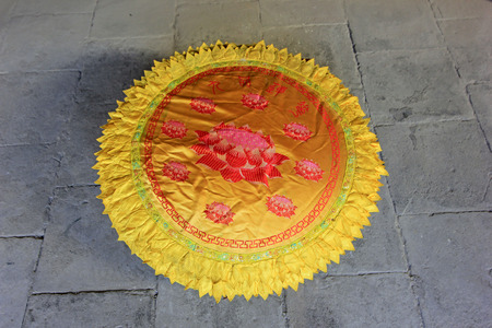 restore ancient ways: Prayer kneel mat, closeup of photo