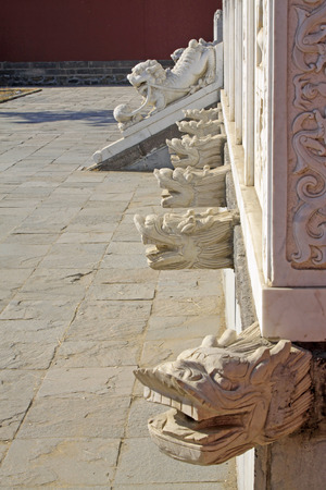 craft on marble: White marble railings carved works in a temple, closeup of photo