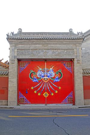 cultural artifacts:  Hehe door building scenery in the Dazhao Lamasery Stock Photo