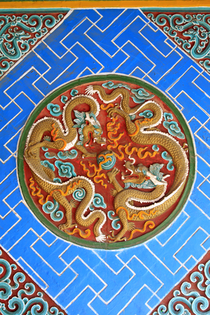 glaze: Coloured glaze paintings in a temple, closeup of photo