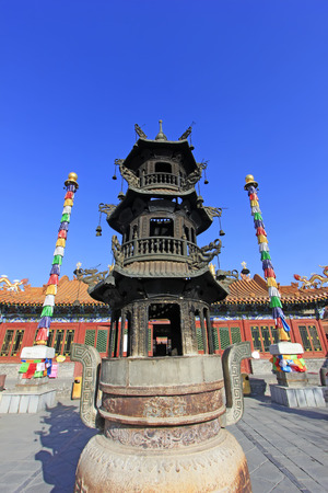 architectural style: Incense burner in an ancient architectural style temple