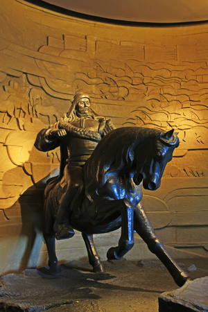 strategist: Hohhot City - February 7: Genghis khan statue in the Inner Mongolia Museum, on February 7, 2015, Hohhot city, Inner Mongolia autonomous region, China