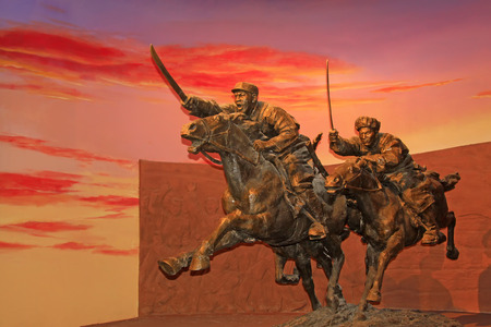 cavalry: Hohhot City - February 7: Cavalry sculpture in the Inner Mongolia museum, on February 7, 2015, Hohhot city, Inner Mongolia autonomous region, China Editorial