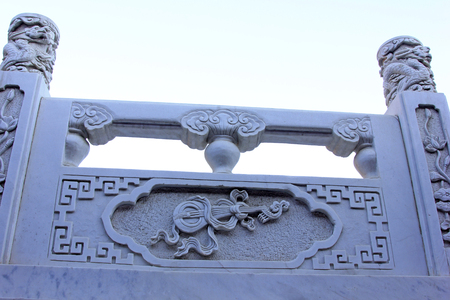 pipa: White marble sculpture, closeup of photo Stock Photo