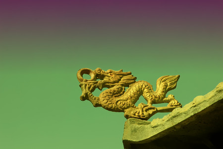 modelling: dragon modelling sculpture in a temple, closeup of photo Stock Photo