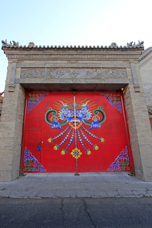 cultural artifacts: Hohhot City - February 6: Hehe door building scenery in the Dazhao Lamasery, on February 6, 2015, Hohhot city, Inner Mongolia autonomous region, China