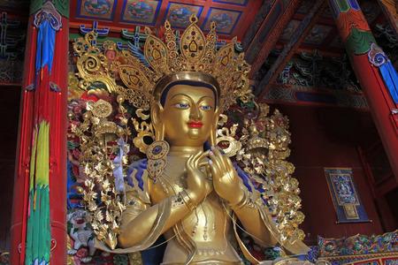 tantra: Hohhot - February 6: golden buddha statue in the Dazhao Lamasery, on February 6, 2015, Hohhot, Inner Mongolia autonomous region, China Editorial