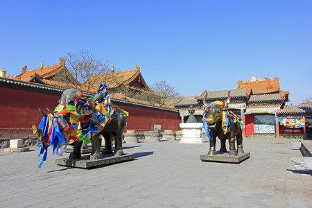 Hohhot City - February 6: Elephant cow copper sculpture in the Dazhao Lamasery, on February 6, 2015, Hohhot city, Inner Mongolia autonomous region, China
