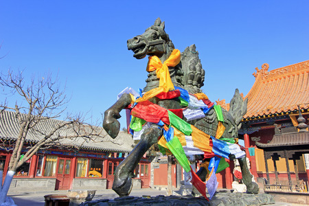 Hohhot City - February 6: Running horse sculpture in the Dazhao Lamasery, on February 6, 2015, Hohhot city, Inner Mongolia autonomous region, China