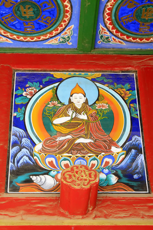 tantra: Coloured drawing or pattern in the temple, closeup of photo