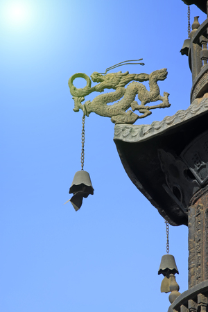 inner wear: Dragon sculpture and bells in a temple, closeup of photo Stock Photo
