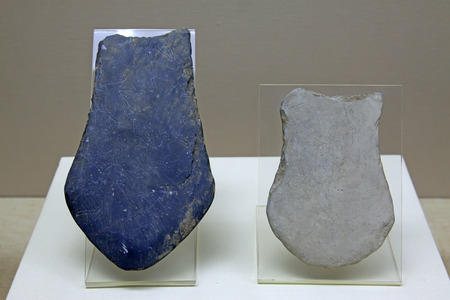 restore ancient ways: ancient Chinese stone tools, closeup of photo Editorial