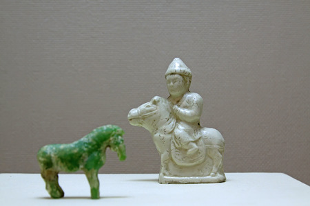 articles: ancient Chinese Ceramic pommel horse decorative furnishing articles, closeup of photo