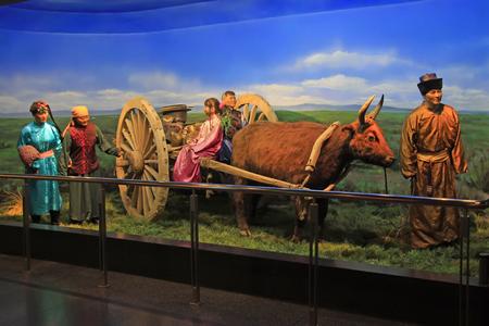 nomadic: Hohhot City - February 7: Mongol nationality nomadic life wax in the Inner Mongolia Museum, on February 7, 2015, Hohhot city, Inner Mongolia autonomous region, China