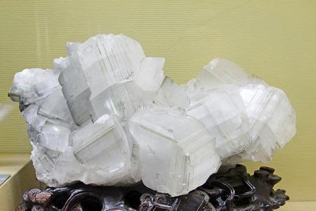 spar: Iceland spar and pyrite specimen, closeup of photo Stock Photo