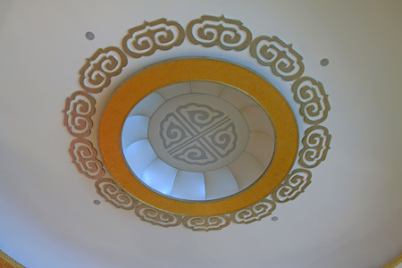 droplight: ceiling chandeliers and decorative pattern, closeup of photo